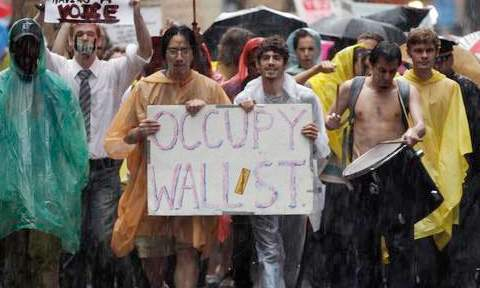 Protesters during Occupy Wall Street march