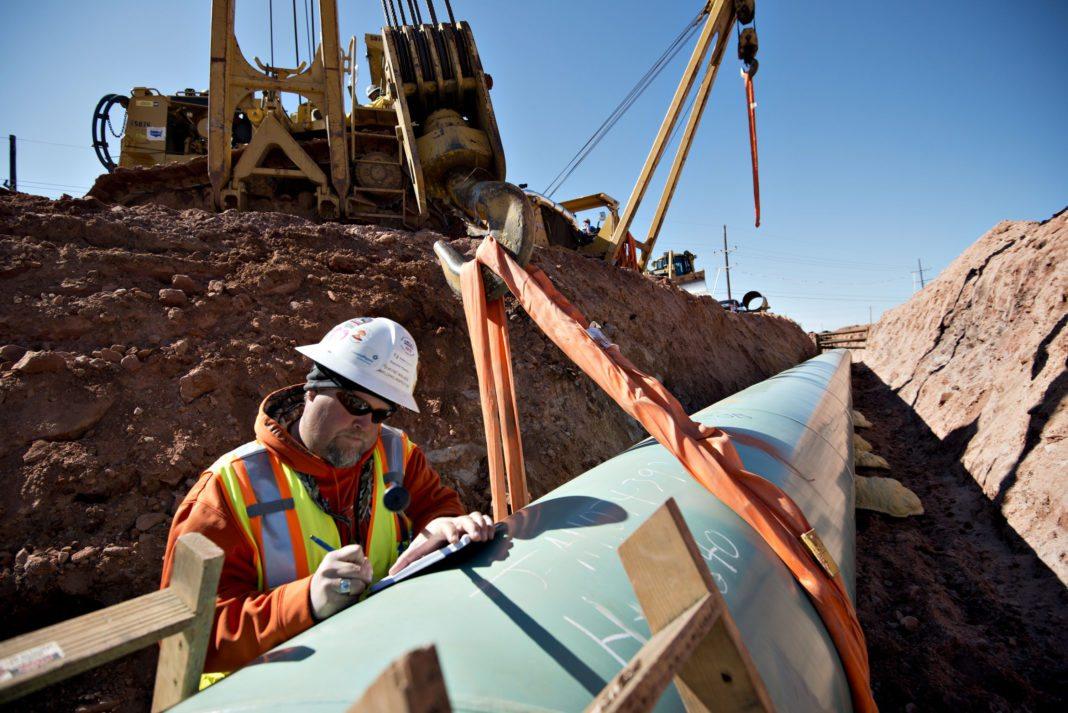 Construction along the Keystone XL pipeline.